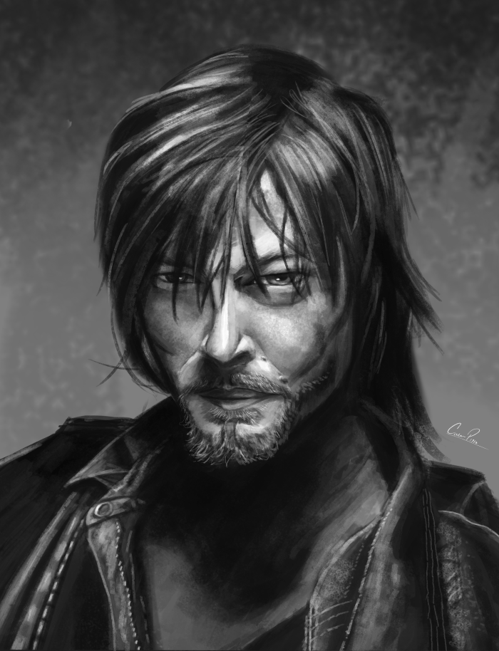 Daryl from the Walking Dead portrait painting