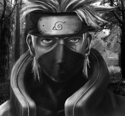 Naruto, Kakashi Hatake portrait painting.