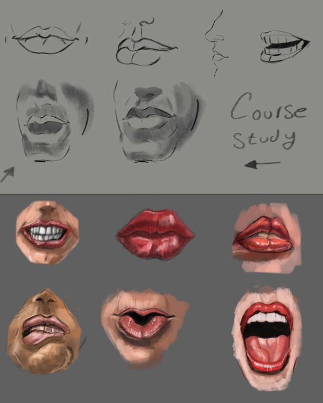 Painting study of how to draw lips and expressions