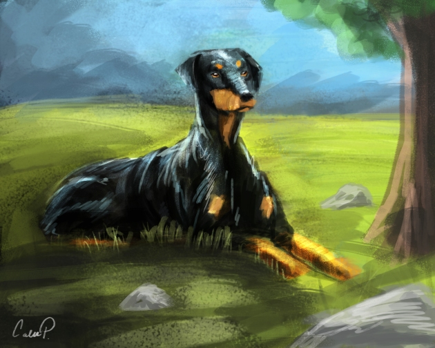 Doberman Pinscher digital painting