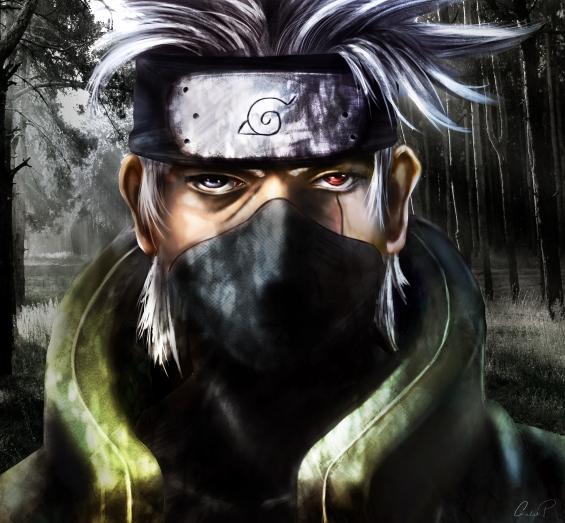 A digital painting of Kakashi Hatake